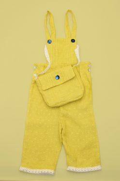 Kit prêt-à-coudre salopette bébé et son petit sac baluchon tissu lin plumétis banane France Duval Stalla